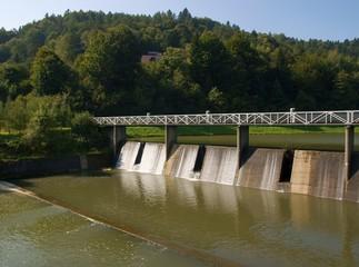 dam on wisloka river in Krempna village