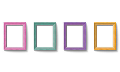 Set of colorful wooden picture frames Vector