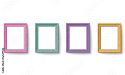 Set of colorful wooden picture frames Vector\
