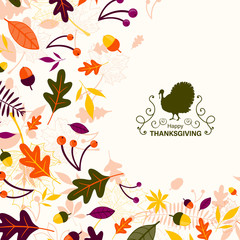 Vector Illustration of a Thanksgiving Design with Autumnal Leaves