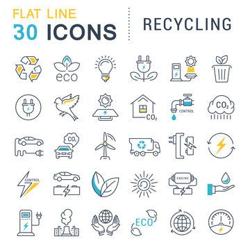 Set Vector Flat Line Icons Recycling