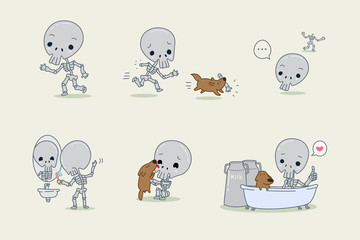 Skeleton and dog cartoon character, Halloween set, Vector illustration.