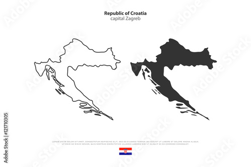 Republic of Croatia isolated map and official flag icons vector