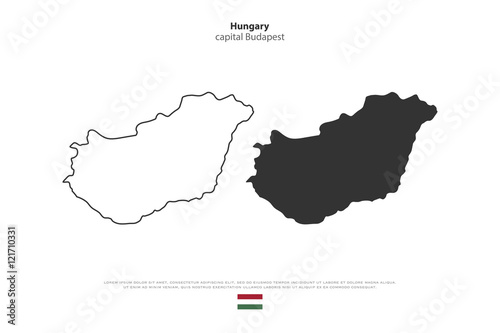 republic of hungary isolated map and official flag icons vector