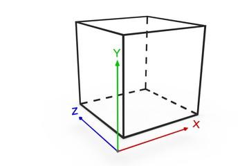 system coordinate cube 3d illustration