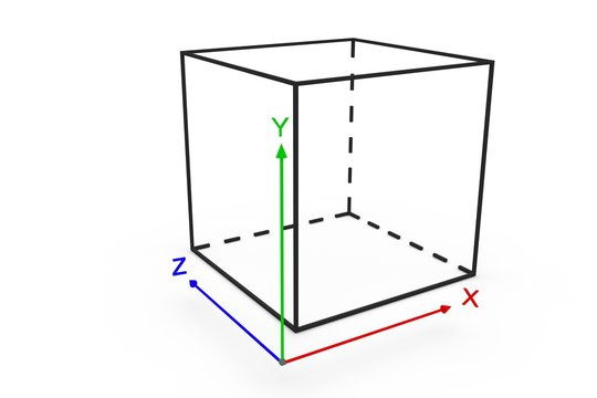 system coordinate cube 3d illustration