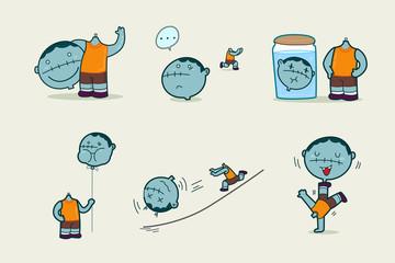 Headless ghost cartoon character design, Vector illustration.