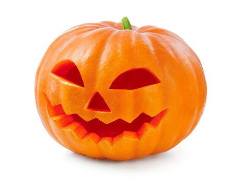 Halloween pumpkin head jack lantern isolated on white