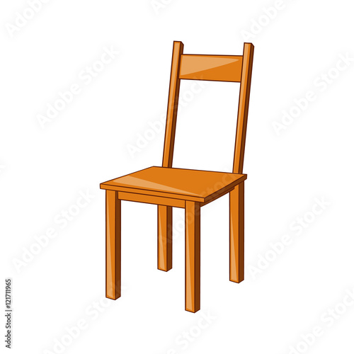 Quot wooden chair icon in cartoon style isolated on white