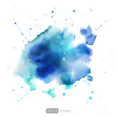 Abstract vector watercolor blue background. Vector.