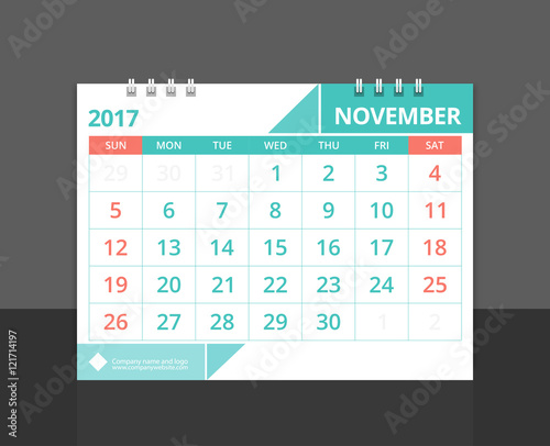 Corporate Calendar 2017 : Quot desk calendar november design layout template vector