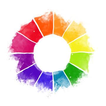 Handmade color wheel. Isolated watercolor spectrum.