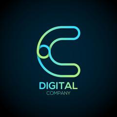 Letter C Logo Design.Linked shape circle symbol,Digital,green blue