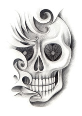 Art skull tattoo.Art design skull head mix graphic tribal tattoo hand pencil drawing on paper.