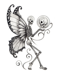 Art skull fairy tattoo.Art design skull fairy surreal for tattoo hand pencil drawing on paper.