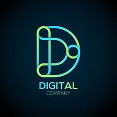 Letter D Logo Design.Linked shape circle symbol,Digital,green blue