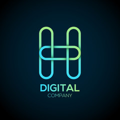 Letter H Logo Design.Linked shape circle symbol,Digital,green blue