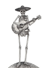 Skull art day of the dead.Art design skull playing guitar action smiley face day of the dead festival hand pencil drawing on paper.