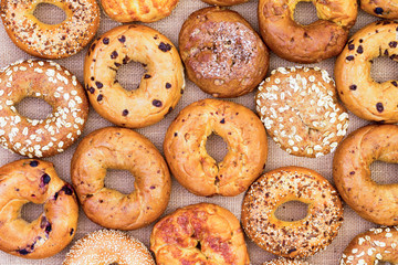 Foto op Aluminium Brood Assorted bagels in a full frame background