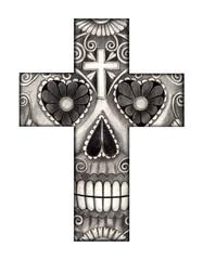 Art design skull cross day of the dead .Art design skull cross day of the dead festival hand pencil drawing on paper.