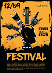 Music poster template for a rock concert. Punk head.