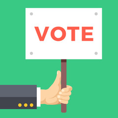 Hand holding vote sign board. Wooden placard with vote word written on it. Elections concept. Modern flat design vector illustration isolated on green background