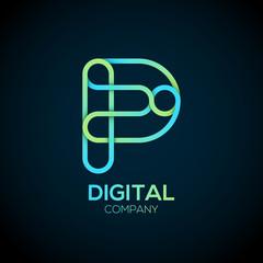 Letter P Logo Design.Linked shape circle symbol,Digital,green blue