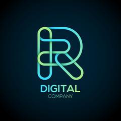 Letter R Logo Design.Linked shape circle symbol,Digital,green blue