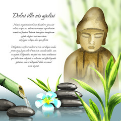 Background of a spa and relax with the image of Buddha,  flower, massage stones and green leaves of bamboo. Watercolor template