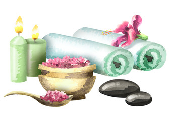 Composition of Spa treatment with aromatic candles, bath salt and massage stones. Watercolor on white background