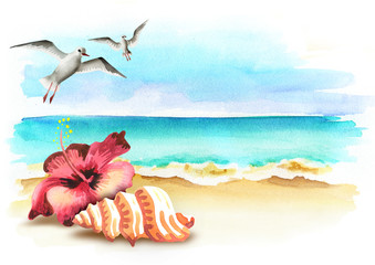 Freedom and wellness background. Watercolor