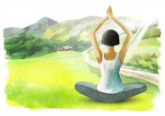 Freedom and wellness. Healthy living concept. Watercolor background