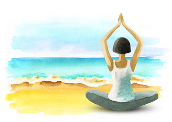 Freedom and wellness.Yoga on the coast. Healthy living concept. Watercolor template