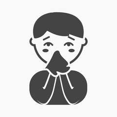 Running nose icon cartoon. Single sick icon from the big ill, disease simple.