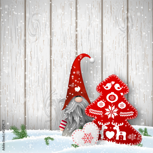 """""""Scandinavian Christmas Traditional Gnome, Tomte With"""