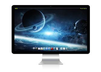Modern computer on white background 3D rendering
