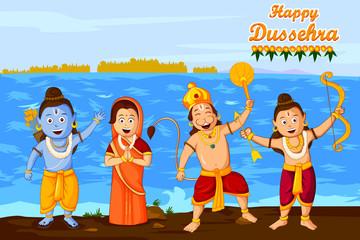 Lord Rama, Laxmana, Sita with Hanuman