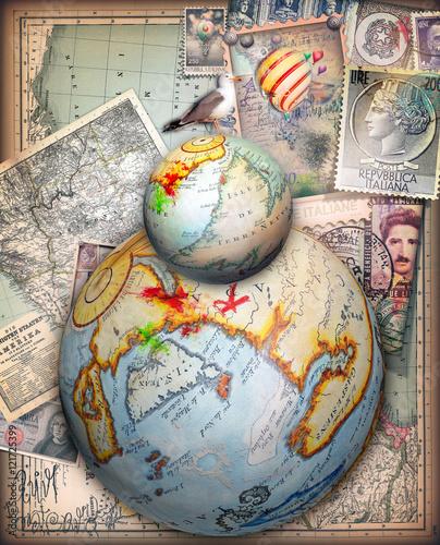 Vecchie Carte Da Viaggio Con Mappamondi Fantastici E Francobolli