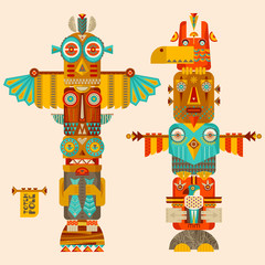 Multi-colored totem poles.