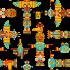 Multi-colored totem poles. Seamless background pattern.