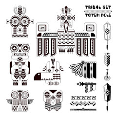 Black and white tribal set. Set of stylized indian totem pole elements.