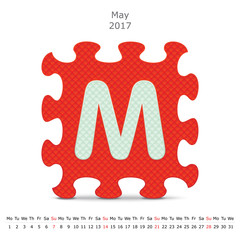 May 2017 puzzle calendar