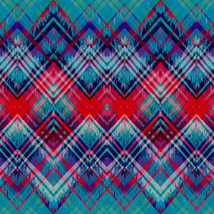 Ethnic zigzag pattern in retro colors, aztec style seamless