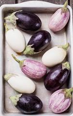 Tiny three color eggplants