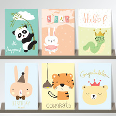 Colorful collection for banners,Flyers,Placards with panda,rabbi