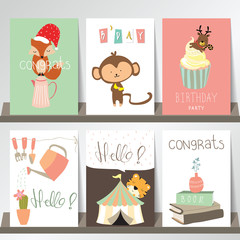 Colorful collection for banners,Flyers,Placards with fox,monkey,