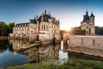The Chateau de Chenonceau castle at sunset, France