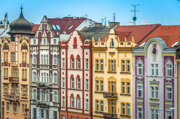 The Colorful houses of Pilsen, Czech Republic