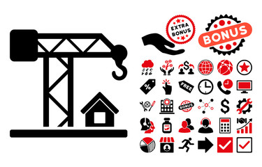 Construction Crane icon with bonus pictograph collection. Vector illustration style is flat iconic bicolor symbols, intensive red and black colors, white background.