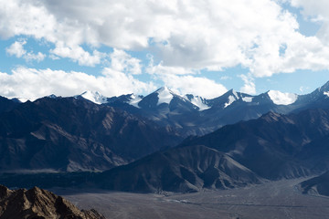 Beautiful snowy and cloudy mountains nature landscape - Leh Ladakh, India